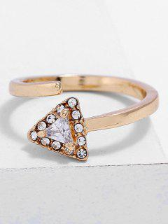 Triangle Shape Rhinestone Finger Cuff Ring - Gold