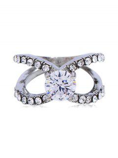 Artificial Crystal Rhinestone Decoration Finger Ring - Silver