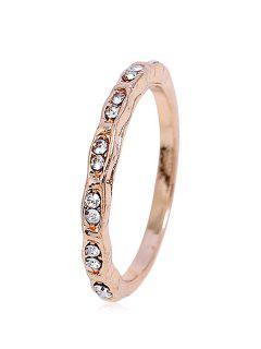 Simple Style Rhinestone Finger Ring - Gold
