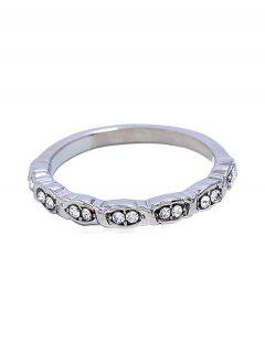 Simple Style Rhinestone Finger Ring - Silver