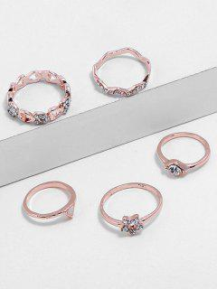 Heart Star Triangle Design Rhinestone Finger Rings Set - Rose Gold