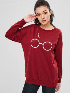 Cute Glasses Sweatshirt - Red Wine M