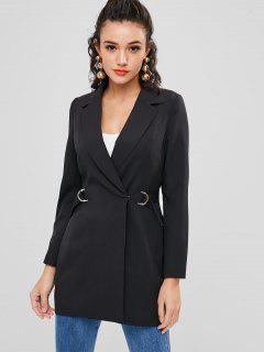 Double Breasted D Ring Long Blazer - Black L