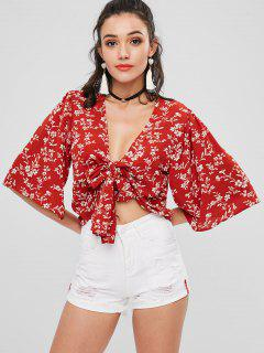 Tie Front Floral Cropped Top - Chestnut Red S