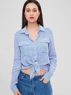 Chemise Rayée Haute Basse Avec Poches - Bleu M