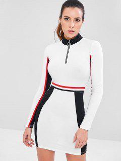 Contrast Zip Color Block Sporty Dress - White M