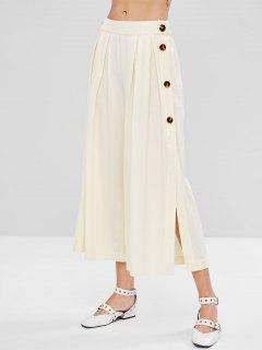 High Waisted Slit Wide Leg Pants - Beige M