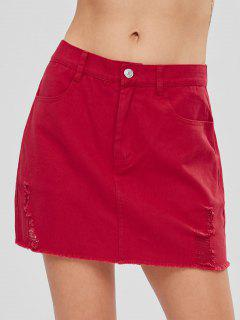Ripped Frayed Mini Skirt - Love Red M