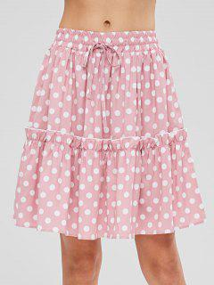 Ruffles Polka Dot Skirt - Light Pink S