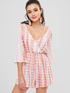 Low Cut Surplice Tie Dye Romper - Orange Pink L