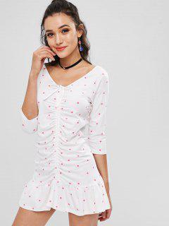 Dots Cinched Mini Dress - White L