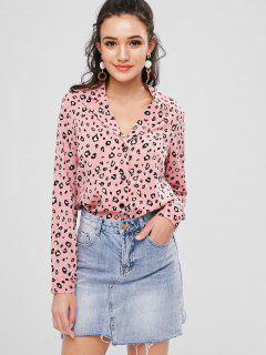 Chemise Boutonnée Imprimée à Col Revers - Rose  L