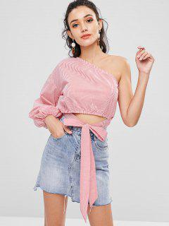 One Shoulder Stripes Top - Red S