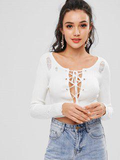 Rib Lace Up Long Sleeve Crop Top - Warm White M