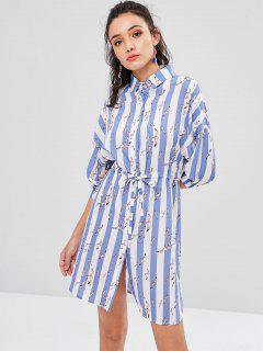 Birds Stripes Shirt Dress - Light Steel Blue M