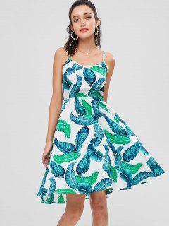 ZAFUL Palm Leaves A Line Cami Dress - Multi L