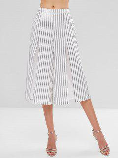 Striped Split Wide Leg Culottes - White Xl