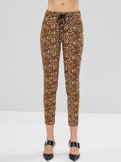 ZAFUL Pockets Lace Up Leopard Print Skinny Pants - Leopard S
