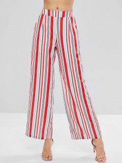 Colorful Striped Wide Leg Palazzo Pants - Multi M