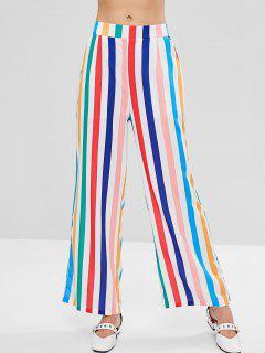 Striped Side Slit Wide Leg Palazzo Pants - Multi L