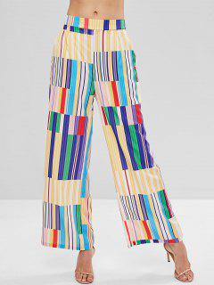 Patchwork Stripe Print Wide Leg Palazzo Pants - Multi S