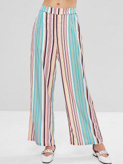 Colored Striped Wide Leg Palazzo Pants - Multi S
