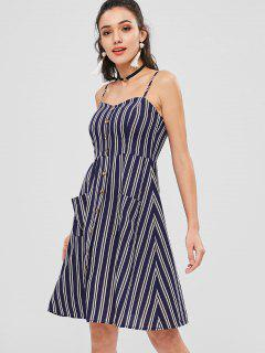 Cami Pockets Striped Midi Dress - Multi L