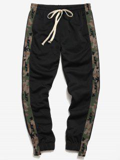 Side Camo Patch Jogger Pants - Black L