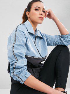 Half Zip Two Tone Sports Jacket - Blue Gray S