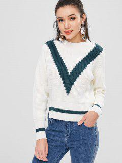 Two Tone Pullover Sweater - White S