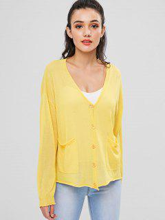V Neck Button Up Knit Cardigan - Rubber Ducky Yellow