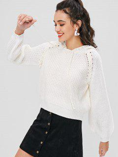 Hooded Faux Pearls Sweater - White M