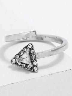 Triangle Shape Rhinestone Finger Cuff Ring - Silver