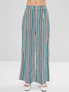 Striped Colored Wide Leg Palazzo Pants - Multi L
