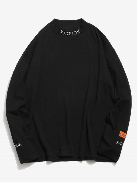 sale Letter Embroidered Side Slit Elastic T-shirt - BLACK M Mobile