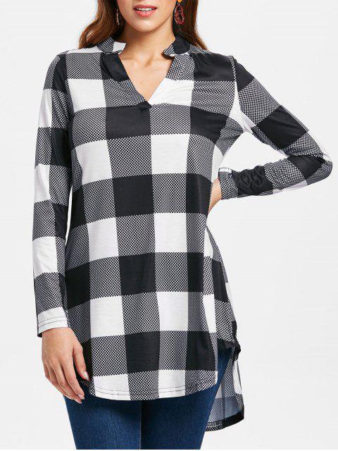 Camiseta Cuadros Cuello Abierto - Blanco y Negro M Mobile
