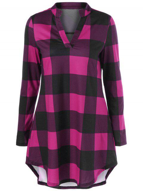 latest Split Neck Long Plaid Boyfriend T-Shirt - VIOLET ROSE M Mobile