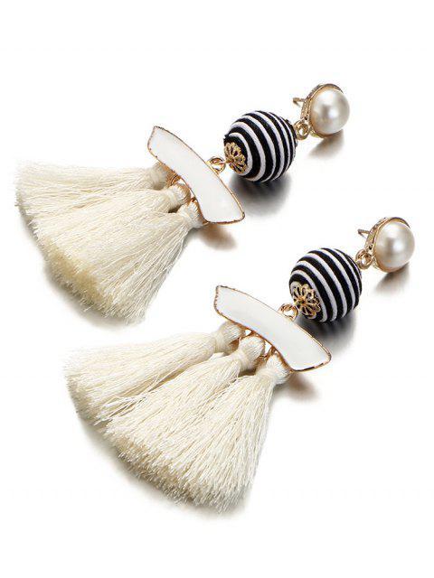 Künstliche Perle gestreiften Ball Quaste Ohrringe - Warmweiß  Mobile