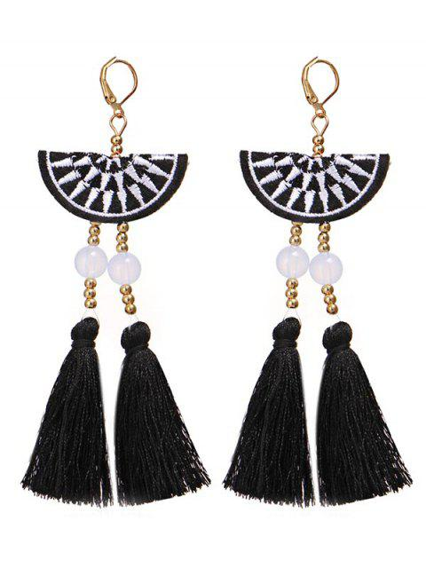 Bohemian Fan Shaped Tassel Drop Earrings - Negro  Mobile