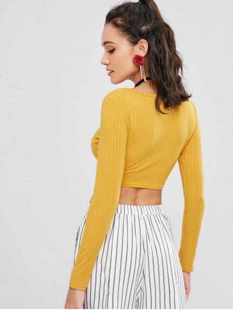 sale Plain Cropped Top - GOLDEN BROWN M Mobile