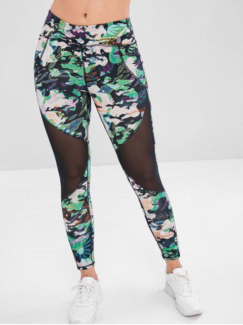 womens Leaf Mesh Insert Sports Leggings - FOREST GREEN L Mobile