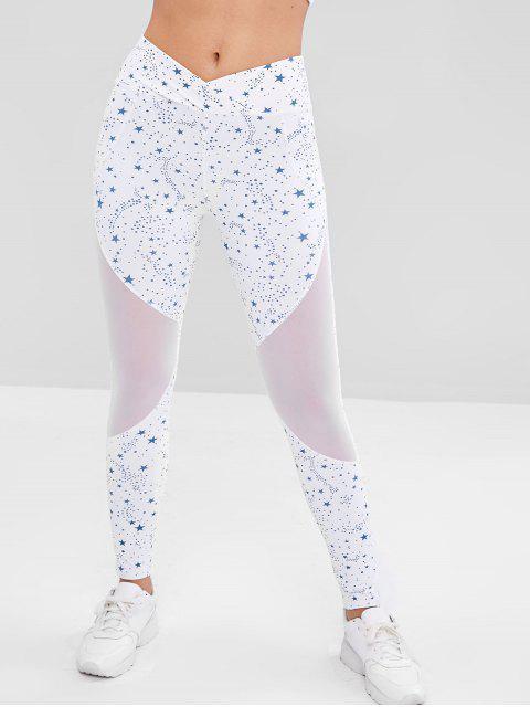 Leggings deportivos con inserciones de malla de estrellas - Blanco L Mobile