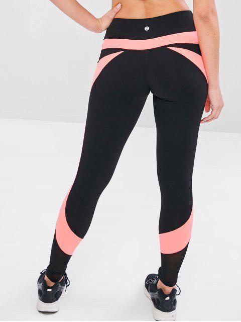 buy Mesh Insert Color Block Gym Leggings - BLACK M Mobile