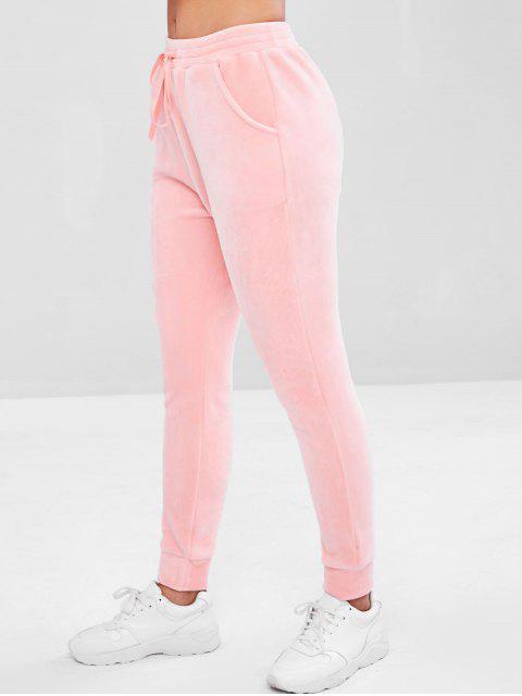 fashion Velvet Drawstring Pocket Pants - PINK L Mobile