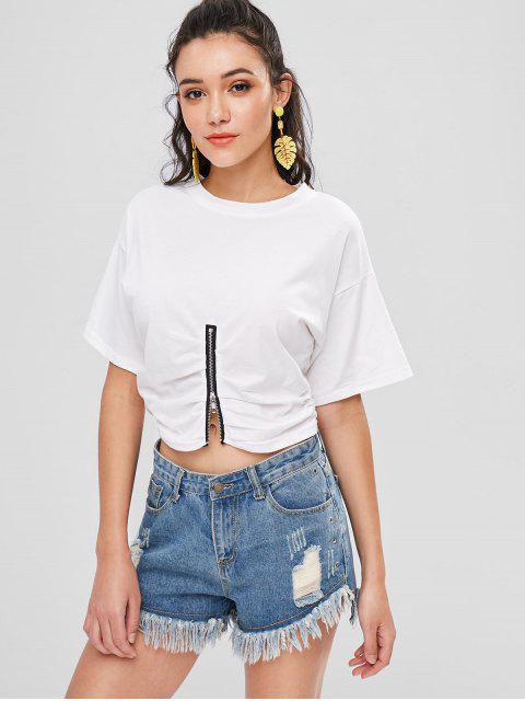 Reißverschluss Cinched T-Shirt - Weiß XL Mobile