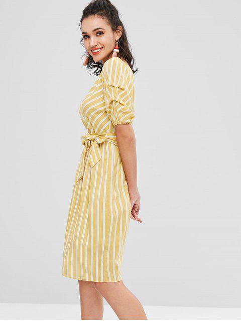 Robe Plissée Rayée - Jaune de Maïs  Taille Unique Mobile