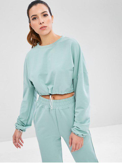 best Drawstring Drop Shoulder Crop Sweatshirt - CYAN OPAQUE L Mobile