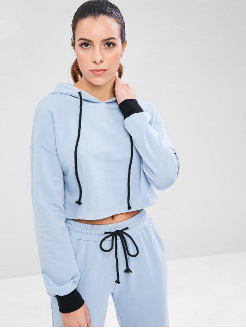 affordable Drop Shoulder Sports Crop Hoodie - BABY BLUE L Mobile