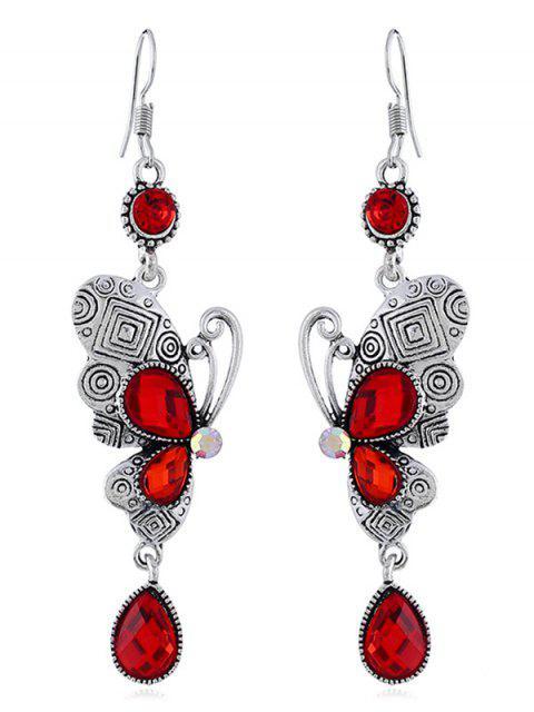 Boucles d'oreilles rétro crochet strass papillon - Rouge  Mobile
