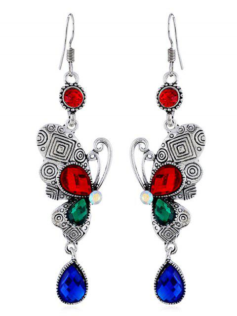 new Retro Rhinestone Butterfly Hook Earrings - MULTI  Mobile